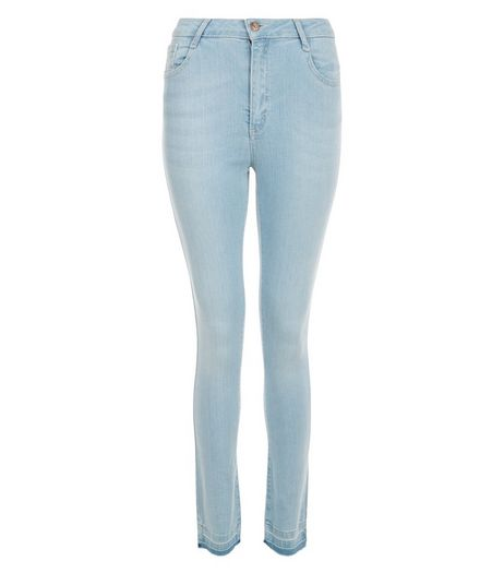 Teens Blue Bleached Raw Hem Skinny Jeans  | New Look