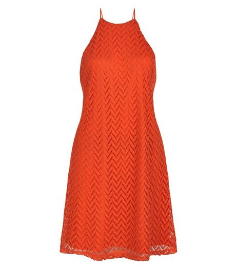 Orange Crochet High Neck Slip Dress | New Look