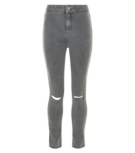 Teens Grey Ripped Knee High Waist Super Skinny Jeans | New Look