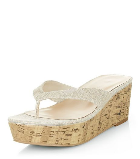 Silver Textured Flatform Cork Sandals  | New Look