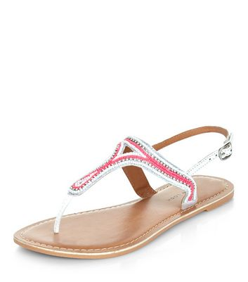Sandalo  donna Wide Fit Pink Leather Beaded Sandals