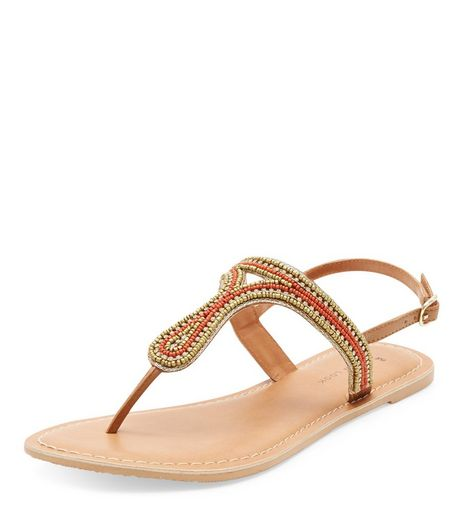 Wide Fit Orange Leather Beaded Sandals  | New Look