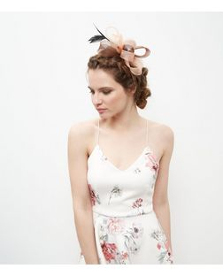 Pink Net Bow Feather Fascinator  | New Look