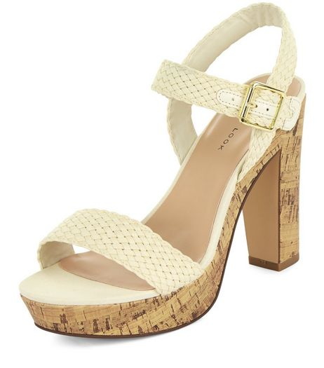 Cream Plaited Ankle Strap Contrast Heeled Sandals  | New Look
