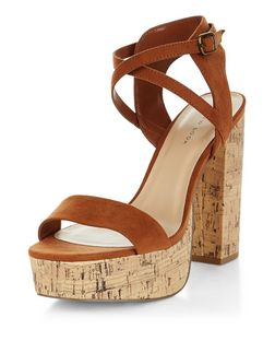 Tan Suedette Cross Strap Contrast Cork Platform Sandals  | New Look