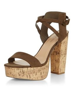 Khaki Suedette Cross Strap Contrast Cork Platform Sandals  | New Look