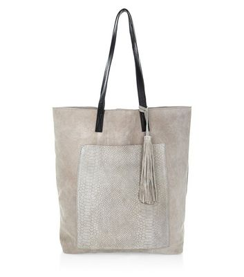 Grey Premium Suede Snakeskin Texture Pocket Shopper Bag
