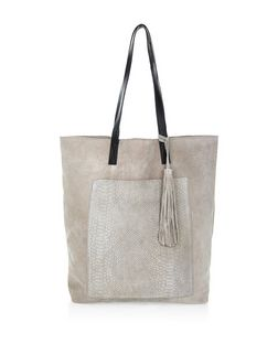 Grey Suede Snakeskin Textured Pocket Shopper Bag | New Look