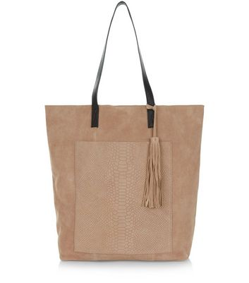 Stone Premium Suede Snakeskin Textured Pocket Shopper Bag