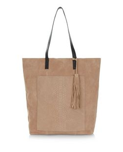 Stone Premium Suede Snakeskin Textured Pocket Shopper Bag | New Look