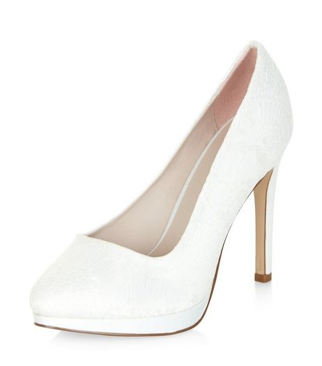 Cream Bridal Lace Platform Court Shoes  | New Look