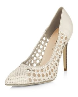 Wide Fit Cream Woven Pointed Court Shoes  | New Look
