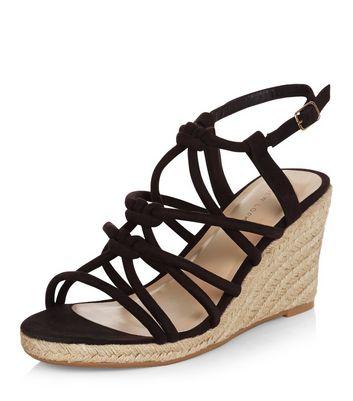 Sandalo  donna Black Suedette Knotted Strap Wedge Sandals