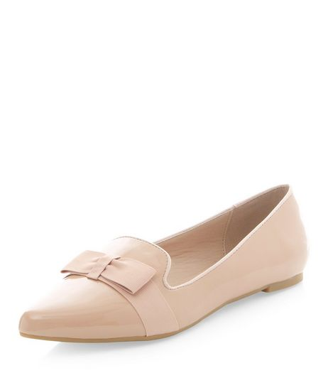 Cream Bow Front Pointed Pumps  | New Look
