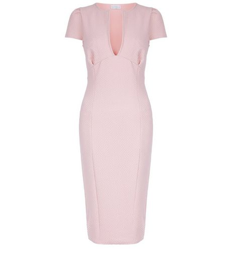 Blue Vanilla Pink Textured V Neck Dress | New Look