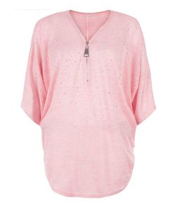 Blue Vanilla Pink Studded Zip Front Oversized Top | New Look