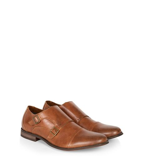 Tan Leather-Look Monk Strap Shoes | New Look