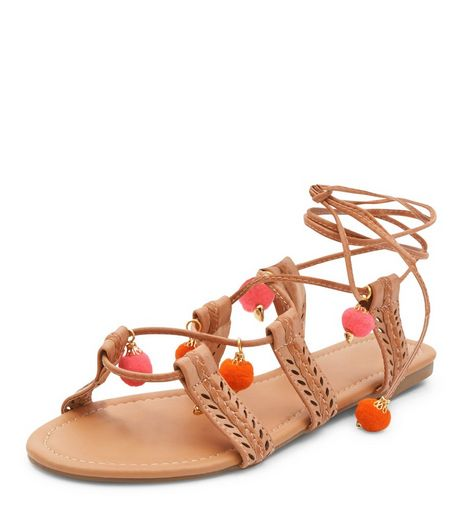 Cream Pom Pom Ghillie Sandals  | New Look