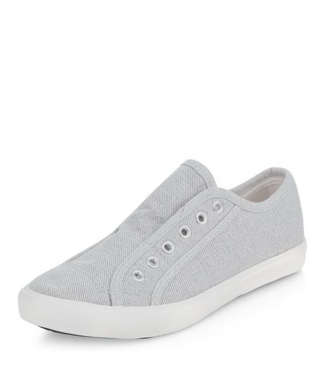 Grey Denim Laceless Plimsolls  | New Look