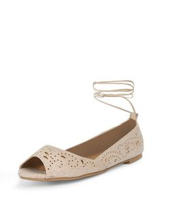 Cream Shimmer Laser Cut Out Peep Toe Ghillie Pumps  | New Look