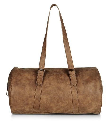 Tan Leather-Look Barrel Holdall Bag | New Look