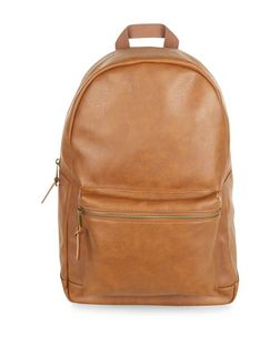 Tan Leather-Look Backpack | New Look