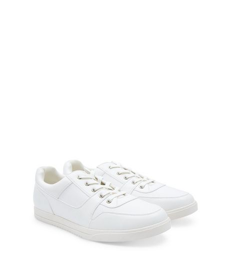 White Lace Up Seam Trim Trainers | New Look