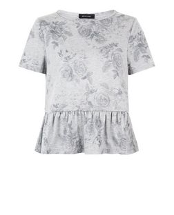 Grey Floral Print Peplum T-Shirt  | New Look