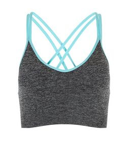 Grey Lattice Back Yoga Sports Crop Top  | New Look