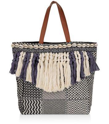 Blue Woven Tassel Front Shopper Bag