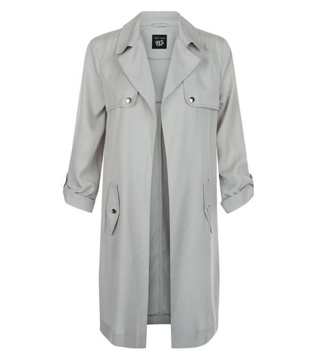 Teens Grey Roll Sleeve Trench Coat | New Look