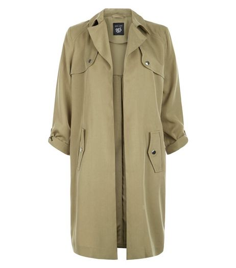 Teens Khaki Roll Sleeve Trench Coat | New Look