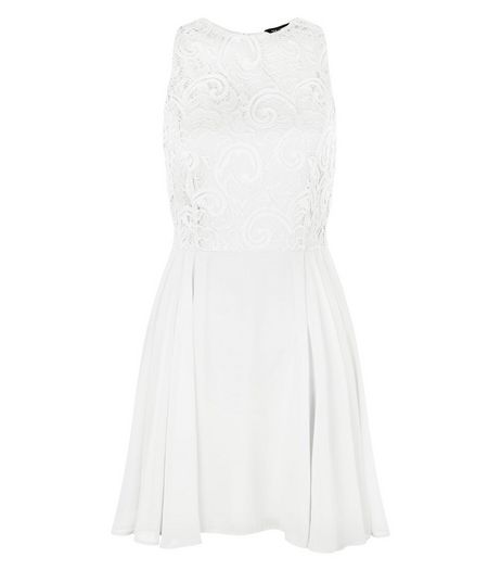 White Chiffon Lace Skater Dress  | New Look