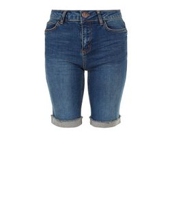 Blue Turn Up Fray Hem Denim Shorts  | New Look