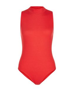 Red Ribbed Funnel Neck Sleeveless Bodysuit | New Look