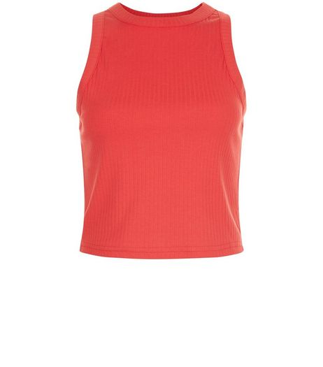 Red Ribbed High Neck Crop Top | New Look