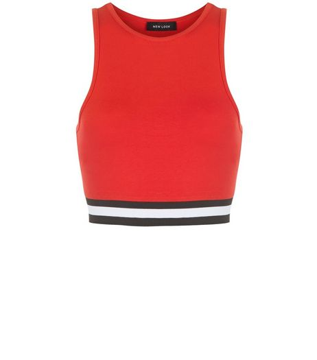 Red Stripe Hem Crop Top  | New Look