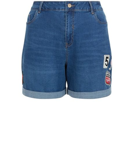 Curves Blue Badge Patchwork Turn Up Denim Shorts  | New Look