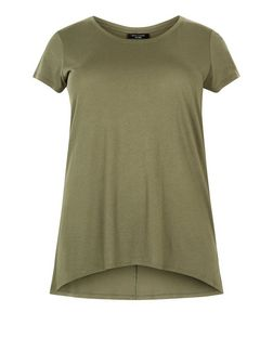 Curves Khaki Dip Hem T-Shirt | New Look