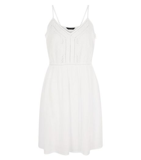 White Embroidered Trim Strappy Dress  | New Look
