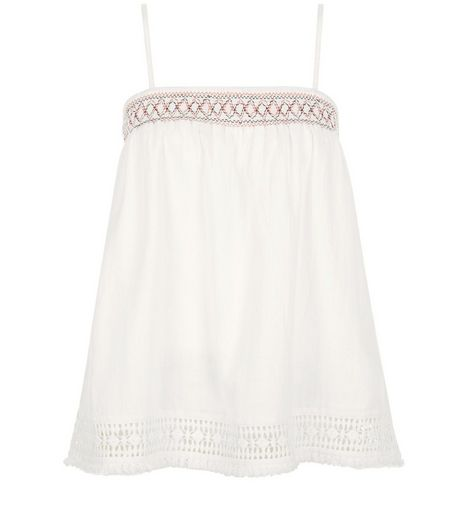 Cream Embroidered Trim Fray Hem Cami  | New Look