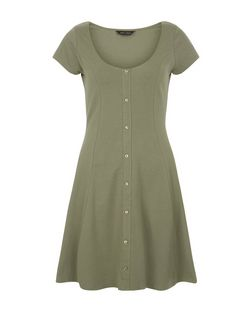 Khaki Button Front Skater Dress  | New Look