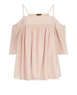 Shell Pink Embroidered Trim Cold Shoulder Top  | New Look