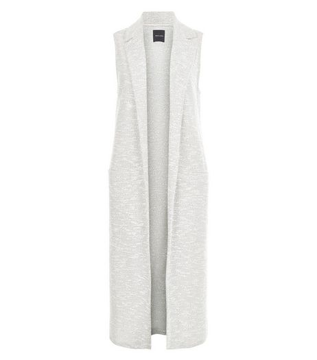 Grey Fine Knit Longline Sleeveless Jacket  | New Look