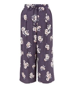Grey Floral Print Drawstring Culottes | New Look