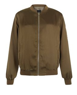 Tall Khaki Sateen Bomber Jacket | New Look