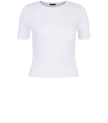 White Ribbed Crop Top  | New Look