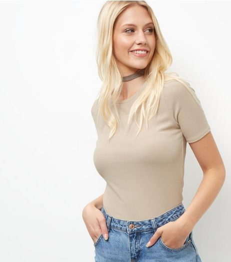 Stone Ribbed Crop Top  | New Look