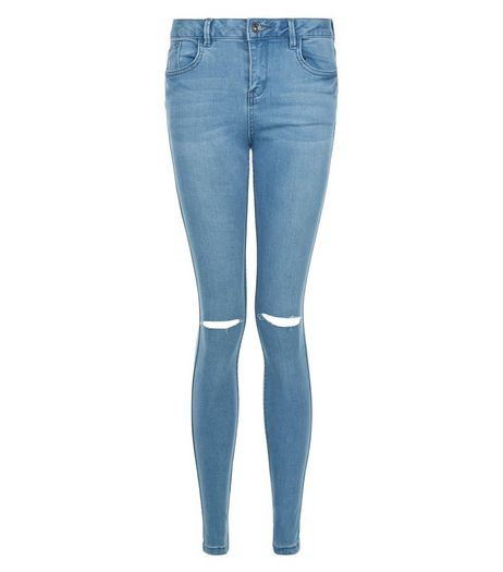 Teens Blue Ripped Knee Skinny Jeans | New Look