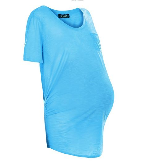 Maternity Turquoise Pocket Slub T-Shirt   | New Look